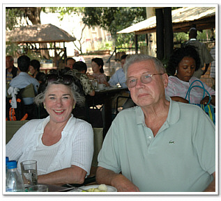 Founding Board Member, Richard Schubert and his wife, Chairman, Virginia Austin Schubert, taking a lunch break, while on safari in Livingstone.